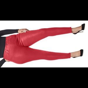 Good Waist Coated High Waist Skinny Jeans - Red
